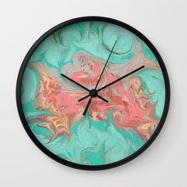 Hand marbeled paper 3 Wall Clock