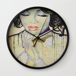Colourful dripping ink portrait Wall Clock