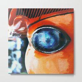 Blue Eye of An Orange Alien Metal Print