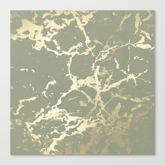 Kintsugi Ceramic Gold on Green Tea Canvas Print