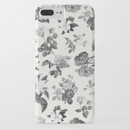 Vintage flowers on cream blackground iPhone Case