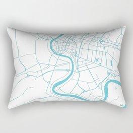 Bangkok Thailand Minimal Street Map - Turquoise and White II Rectangular Pillow