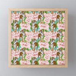 tigers and flowers Framed Mini Art Print