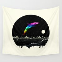 swimming Wall Tapestries featuring Night Swimming by Octavia Soldani