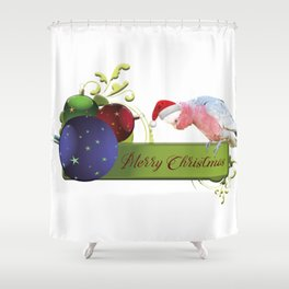 Merry Christmas from Charlie the Galah Shower Curtain
