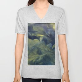Jack Frost In Inkwell Blue and Yellow Abstract Art Unisex V-Neck