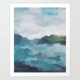 Aqua Blue Green Abstract Art Painting Art Print