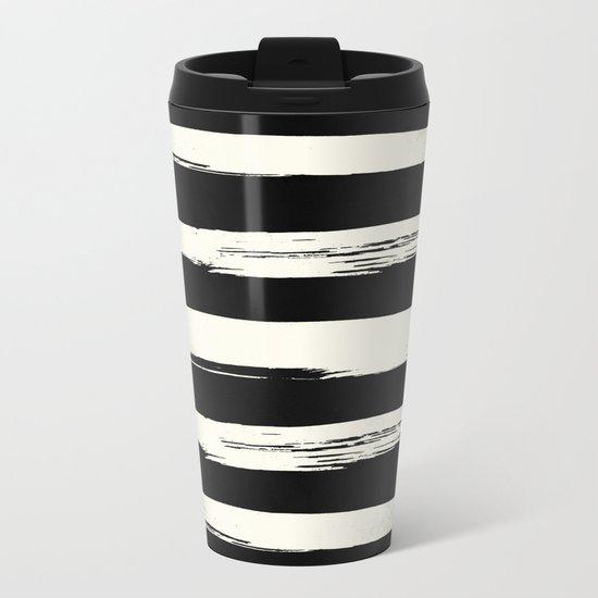 Trendy Black + Cream Stripes Metal Travel Mug