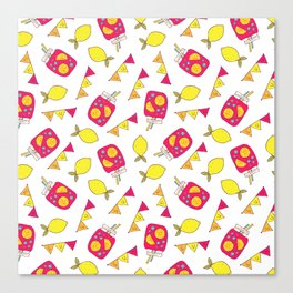 Modern neon pink yellow lemonade summer drink Canvas Print