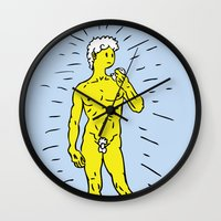 david olenick Wall Clocks featuring DAVID by Takeru Amano