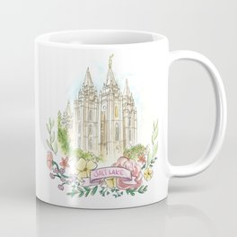 Salt Lake City LDS watercolor Temple with flower wreath Coffee Mug