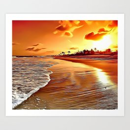 Golden Beach Airbrush Artwork Art Print
