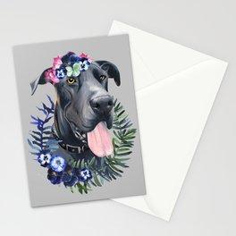 Flower power great Dane Stationery Cards