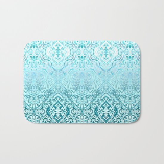 Twists & Turns in Turquoise & Teal Bath Mat