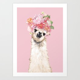 Llama with Flower Crown in Pink Art Print
