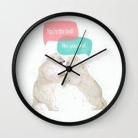 best friends Wall Clocks featuring best friends by Laura Graves