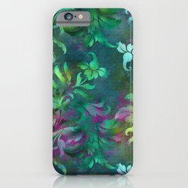 Jungle Floral Design in Jeweled Blues and Purple iPhone Case