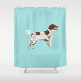 Brittany Spaniel dog breed funny dog fart Shower Curtain