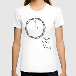 Be Happy - black and white illustration T-shirt