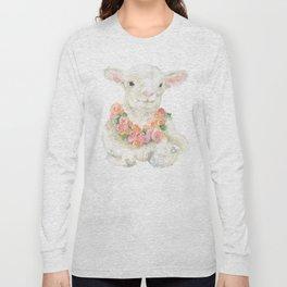 Baby Lamb Floral Watercolor Farm Animal Long Sleeve T-shirt
