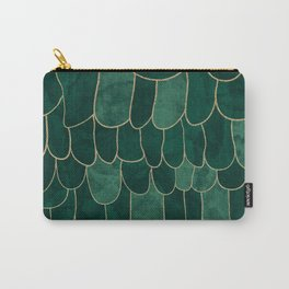 Stratosphere Emerald // Abstract Green Flowing Gradient Gold Foil Cloud Lining Water Color Decor Carry-All Pouch