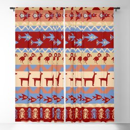 Inca Animals Fish and Birds Pattern Blackout Curtain