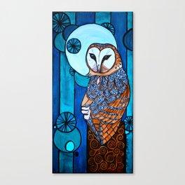 Barn Owl Art Nouveau Panel in blue Canvas Print