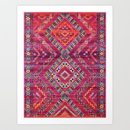 N118 - Pink Colored Oriental Traditional Bohemian Moroccan Artwork. Art Print