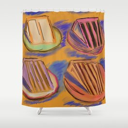 Never 2 Many Cakes Gold Background #Desserts #Painting Shower Curtain