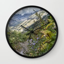 A Little Color Along the Highline Trail - Glacier Wall Clock
