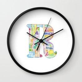 Letter R - Watercolor Monogram - Colorful Lettering - Watercolor Letter Print - Watercolor Initial Wall Clock