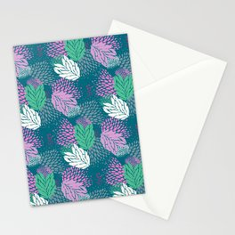 Firework textured floral on a blue/green base Stationery Cards