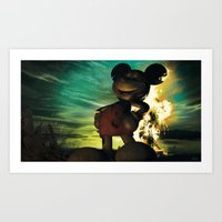 mickey Art Prints featuring Mickey by Steve Cutts