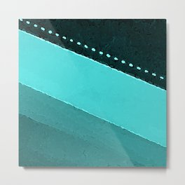 Blue and Black Stripes: Dotted Line Metal Print