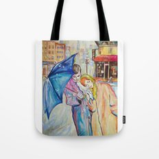 Paris, vintage, retro, love, painting. Tote Bag