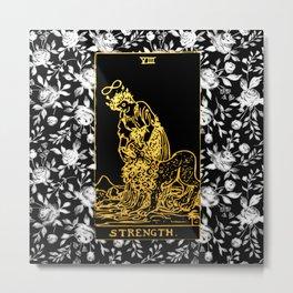 Floral Tarot Print - Strength Metal Print