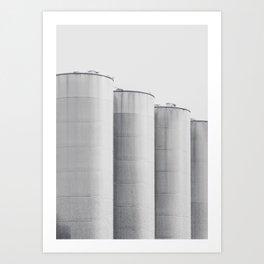 Industrial, architecture photography, fine art, black & white photo, b&w urban, man cave gift Art Print