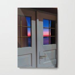 Sunset through the door Metal Print