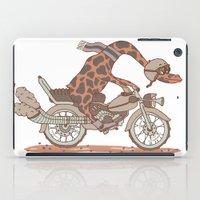 motorbike iPad Cases featuring Giraffe on a motorbike by schäferhäst