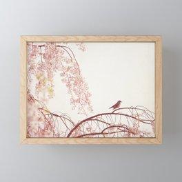 Pink Nature Floral Bird Photography, Girls Bedroom Nursery, Tree Birds Spring Branches Framed Mini Art Print