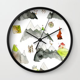 Watercolor Hills for Hikers and Nature lovers Wall Clock