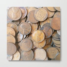 Watercolor Coins, Lincoln Wheat Pennies, 1927 03 Metal Print