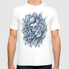 Mermaid Skull 2 SMALL White Mens Fitted Tee