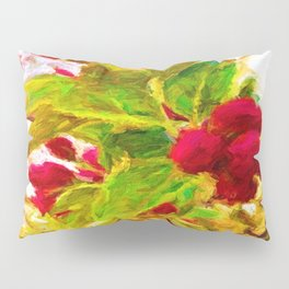 Festive Red Berries on Dancing Green Leaves Pillow Sham