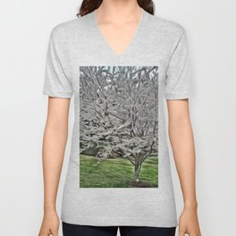 Sterling Silver Tree Unisex V-Neck