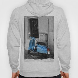 Blue Vespa in Venice Black and White Color Splash Photography Hoody