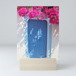 Santorini blue Door Mini Art Print