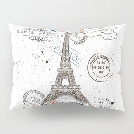 Art hand drawn design with Eifel tower. Old postcard style Pillow Sham