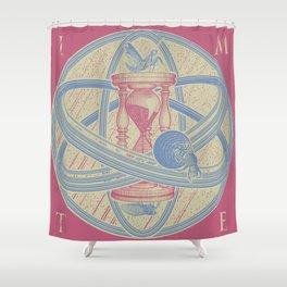 Time Infinity System. Orbit, sandglass, scarab, cicada, mantis. Engraving illustration. Part 1. Shower Curtain