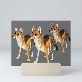 Senegalese Wolf in grey Mini Art Print